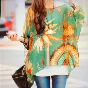 Sheer Indian feather print Top